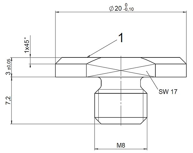 P-176.F35, dimensions in mm. 1 = Contact surface hardened and polished.