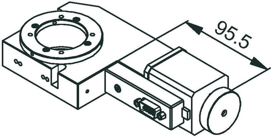 RS-80 rotation stage, stepper motor, dimensions in mm