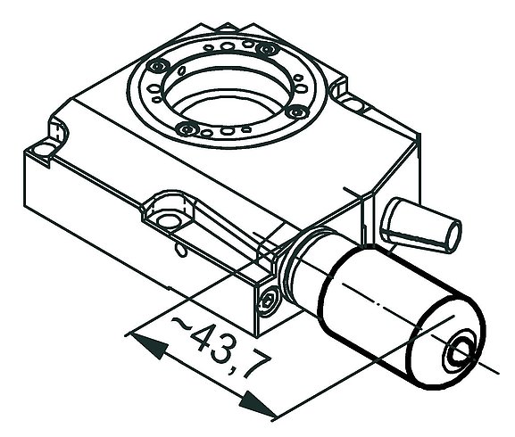 RS-40 rotation stage, stepper motor, dimensions in mm