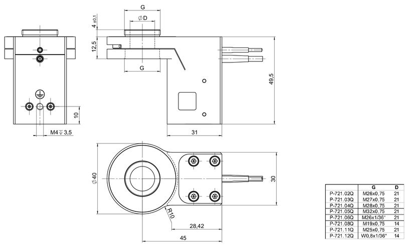 P-721.xxQ, .SL2 dimensions in mm (adapter to be ordered separately)