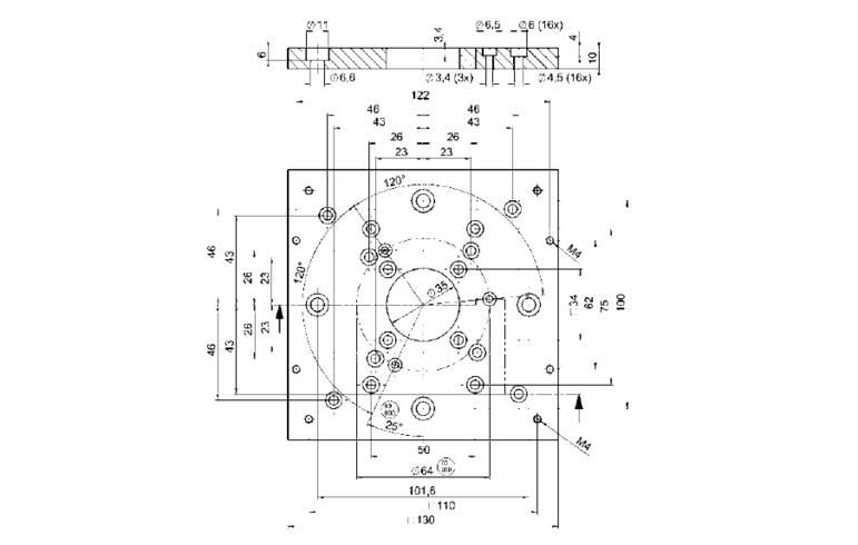 PI M-062.HP Adapter Plate Drawing