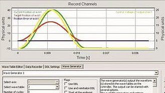 Complex motion profiles can be generated, saved and implemented with the function generator