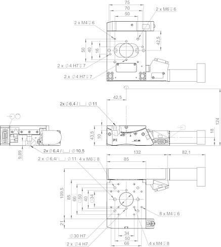 65409101, WT-85 goniometer with DC motor and incremental angle measuring system, dimensions in mm. Note that a comma is used in the drawings instead of a decimal point.